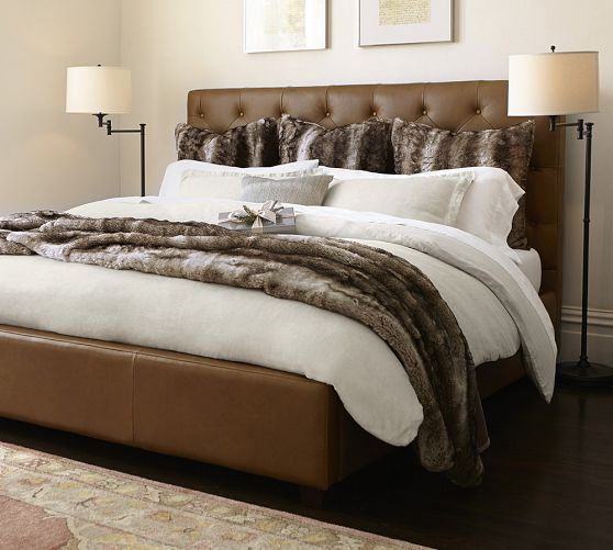 Lorraine Tufted Leather Low Bed Headboards For Beds