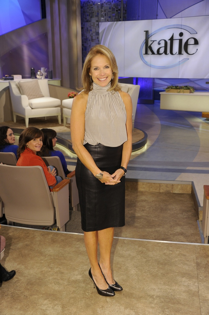 Katie Couric wore a leather skirt by Vince and a blouse from Barbara Bui