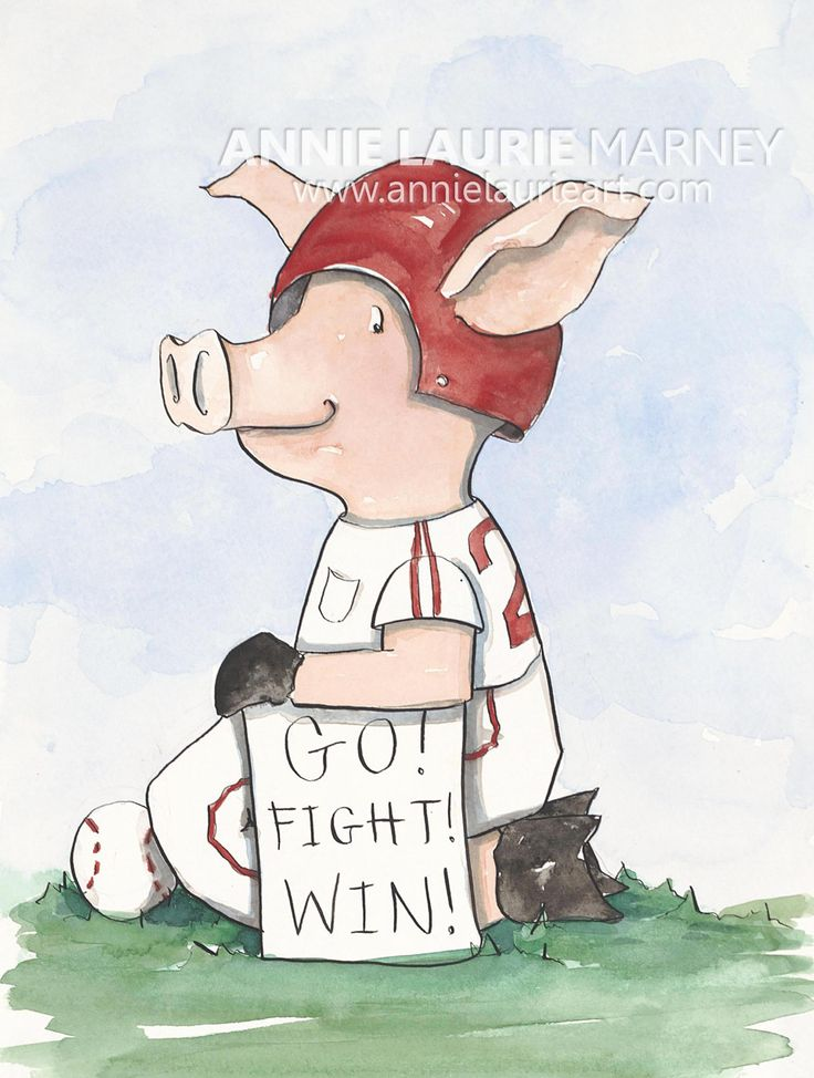 "Arkansas Razorback Baseball ""Piggie"" - 9x12"" Watercolor Fine Art Print."