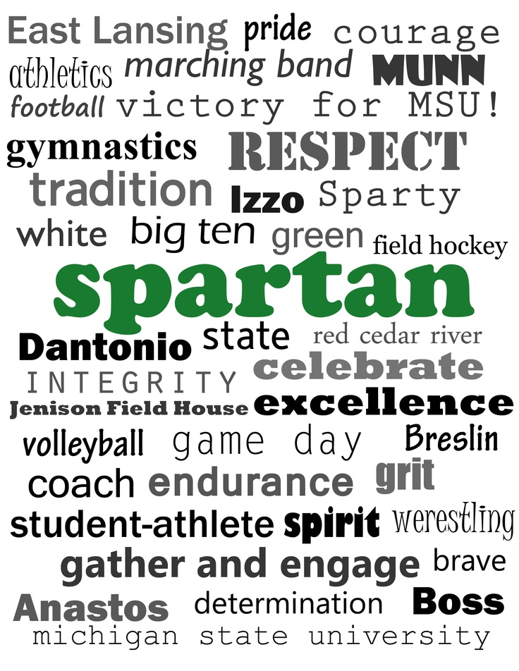 Michigan State Spartans word cloud