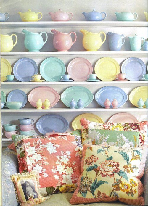 wow! I love this.  I have little pink shelves running under my cabinets in my kitchen and I'd really love to get some pastel things to set on the shelves.