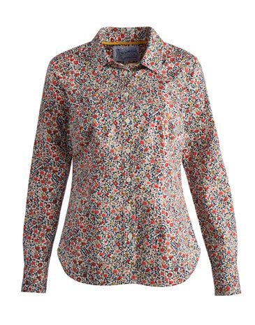 Cream ditsy floral print KINGSTON Womens Classic Shirt marked down to $51