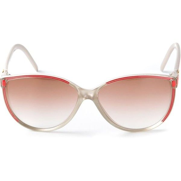 Pre-owned Balenciaga Vintage 80s bi-colour sunglasses found on Polyvore featuring polyvore, women's fashion, accessories, eyewear, sunglasses, brown, 1980s sunglasses, brown sunglasses, balenciaga sunglasses and plastic sunglasses