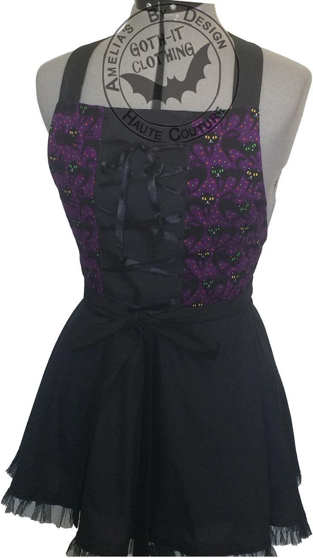 black cat Gothic apron