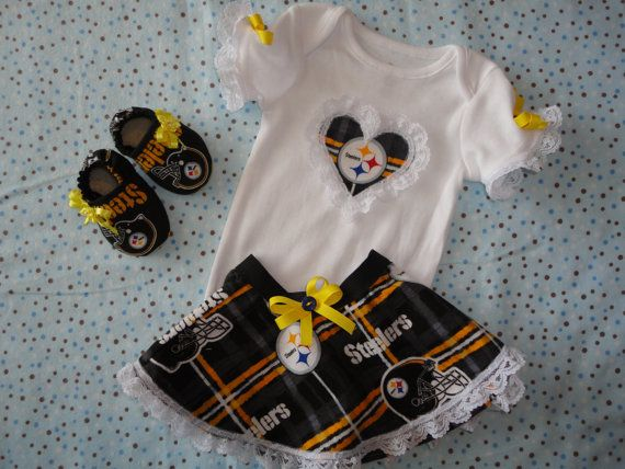 NFL Pittsburg Steelers Tailgating Outfit Onesie Dress Matching NFL Booties Baby  Girl Steelers Boutique Tailgating Outfit Baby Girl  66d4f6927