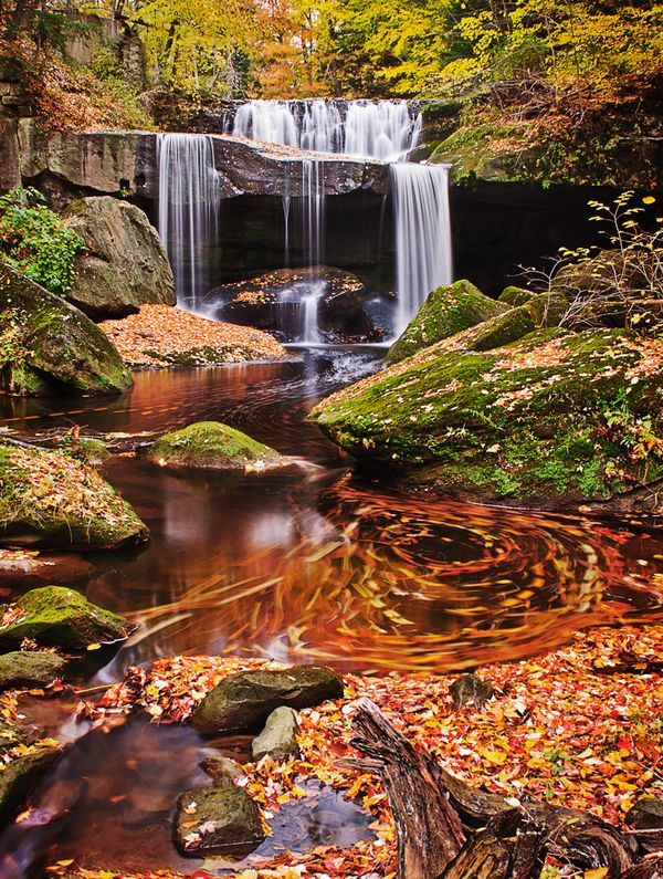 Fall symphony at a waterfall in Geauga County near Cleveland, Ohio ...