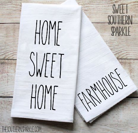 Rae Dunn Inspired Flour Sack Kitchen Towels – Set of two – Home Sweet Home & Farmhouse