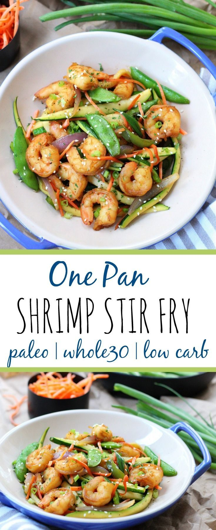 This easy shrimp stir fry recipe is a great Whole30 dinner! If you love stir fry, you'll love this low carb version! Using zucchini noodles lets you eat this flavorful paleo meal, without the carbs! Plus the best tips for cooking with gelatin are included! #paleostirfry #paleoshrimp #lowcarbstirfry #whole30recipes #whole30shrimp via @paleobailey