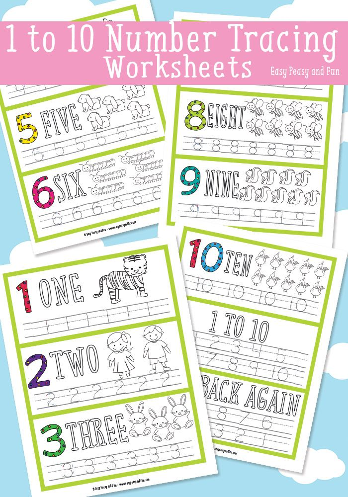 Free 1-10 Number Tracing Worksheets. Practice number writing, counting, reading and one to one correspondence.