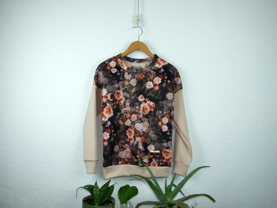 Women's neoprene orange flower patterned sweatshirt by robobambi