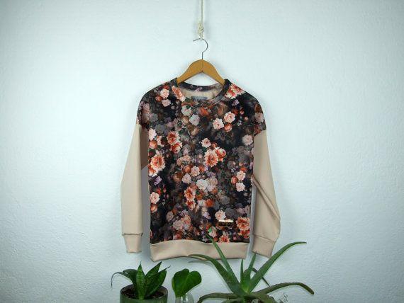 Women's neoprene orange flower patterned sweatshirt by robobambi