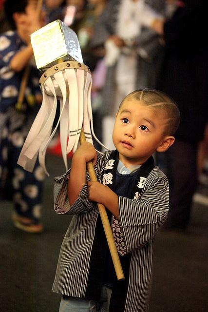 Parade Leader in Training for Honmonji Festival, Japan