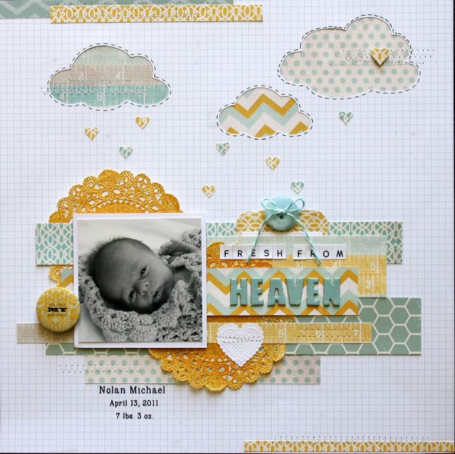 Fresh From Heaven - Baby Boy Scrapbook Layout! Love! Nice Get all your latest scrapbook supplies at allscrapbooksteals.com