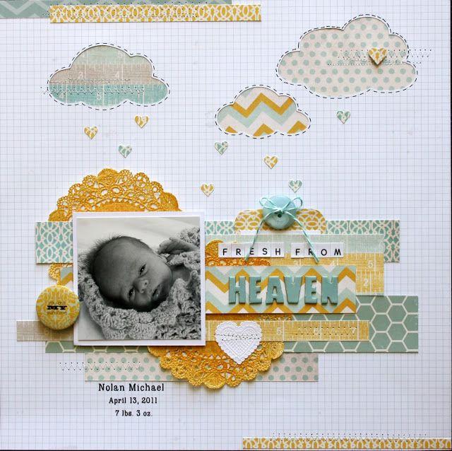 Fresh From Heaven - Baby Boy Scrapbook Layout! Love!