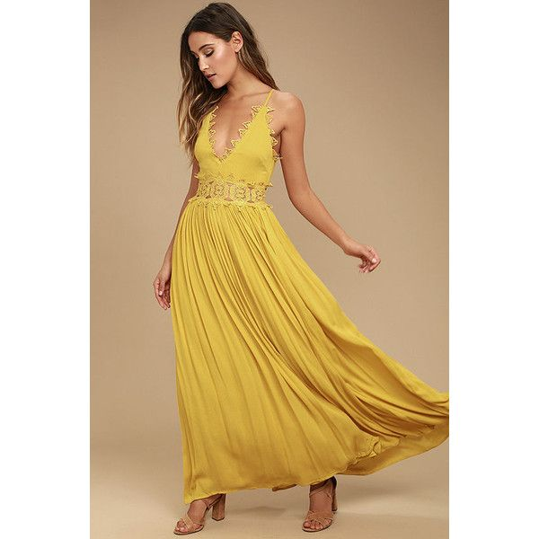 This is Love Mustard Yellow Lace Maxi Dress ($78) ❤ liked on Polyvore featuring dresses, yellow, maxi dress, yellow maxi skirt, v neck maxi dress, yellow lace dress and beige lace dress