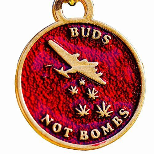 Buds Not Bombs High Flyer Panama Red Enamel Necklace on Polished Brass Ball Chain from From War to Peace