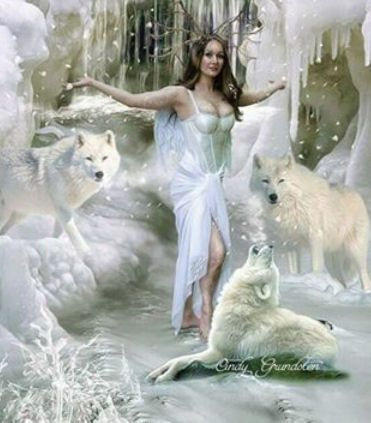 Nice wolves and snow lady-- Shared by Kimberly Ross on Fantasy,Mythical, Whimsical, Gothic,Celtic,Paganism Enchantment's Facebook page