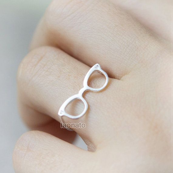 Geek Chic Glasses Ring / Choose your color / gold and silver, Adjustable ring