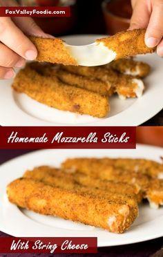 Homemade mozzarella sticks with string cheese