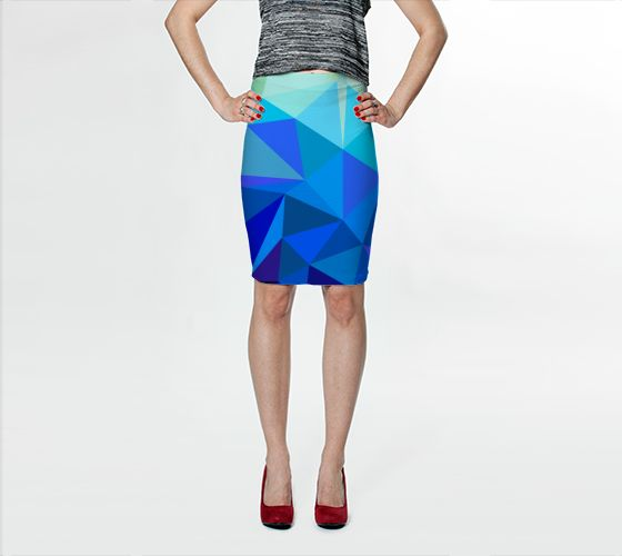 "Fitted Skirt ""Geometric No.21"" by Jenny Mhairi"