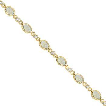 Oval Opal and Diamond Bracelet in 14K Yellow Gold (7x5mm) - Allurez.com