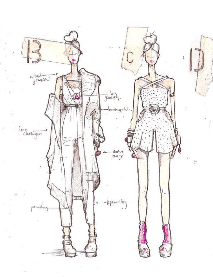 Fashion Sketchbook - fashion design drawings; creative process; fashion portfolio // Fade to Black