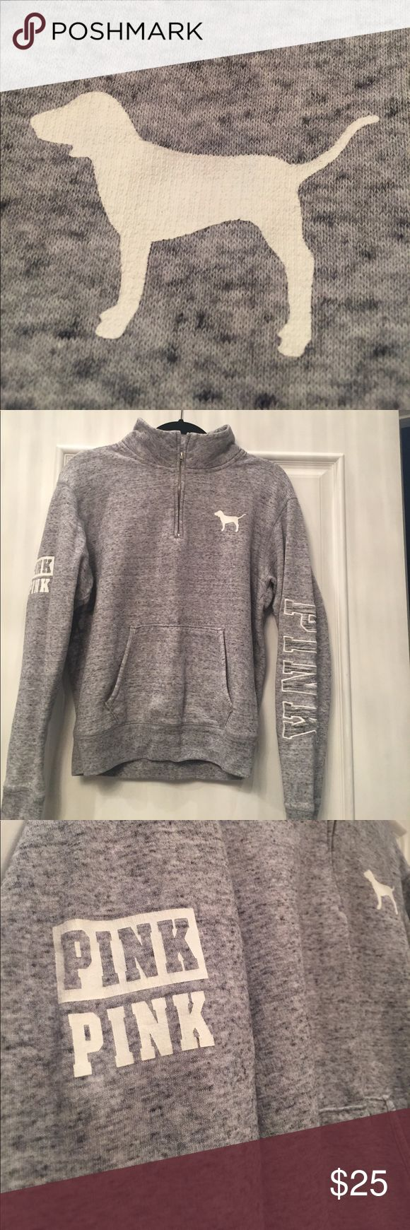 Victoria's Secret Pink  pull over sweat shirt Victoria's Secret Size S pullover Sweatshirt w 1/2 zip collar in Heather gray. No stains. No flaws PINK Victoria's Secret Other