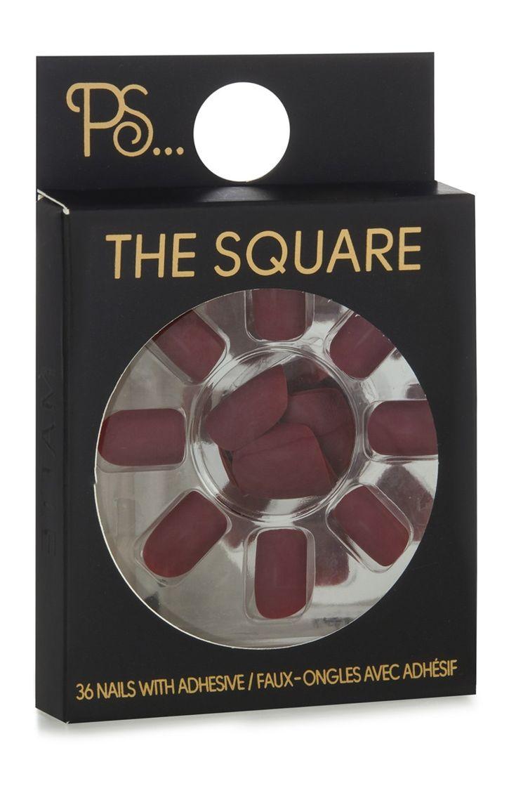 Primark - Faux ongles bordeaux carrés