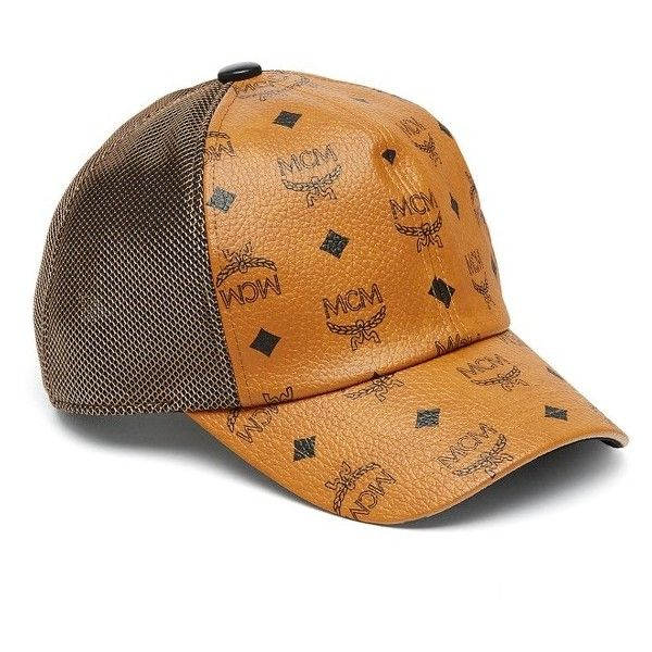 Women's Mcm Visetos Logo Baseball Cap ($260) ❤ liked on Polyvore featuring accessories, hats, cognac, mcm hat, baseball hats, logo ball caps, mcm and logo baseball hats