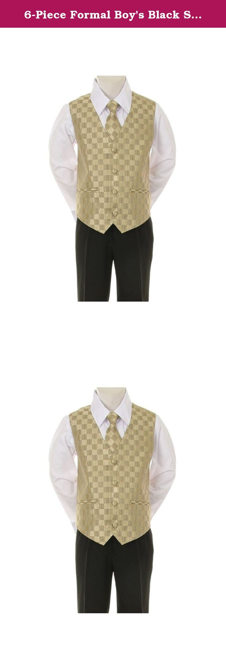 6-Piece Formal Boy's Black Suit Gold Vest Tie - Size 6. 6-Piece Formal Boy's Suit includes Jacket, Pant, Vest, Shirt, Tie, and Handkerchief. 3-Button Jacket with Flat Front Pant with 4-Button Vest with gathered back (3-Button Vest Infant sizes). Black suit. Matching Vest Checkered Color Zipper Tie. White Button Down Boys Dress Shirt with Pointed Collar and Barrel Cuffs with Adjustable Cuff Width. Suit: 100 % Polyester Dress Shirt: 65% Polyester/35% Cotton PLEASE SEE SIZE CHART BELOW FOR…