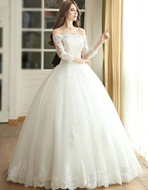 Znalezione obrazy dla zapytania off shoulder wedding gown