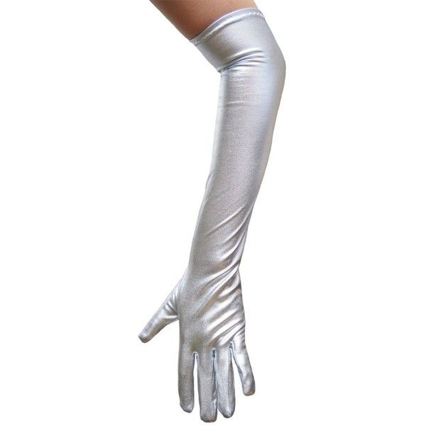 Silver Metallic Gloves Great for Costumes, Party, Prom (STC12090) (25 BRL) ❤ liked on Polyvore featuring costumes, gloves, prom costume, party costumes, prom halloween costumes and party halloween costumes