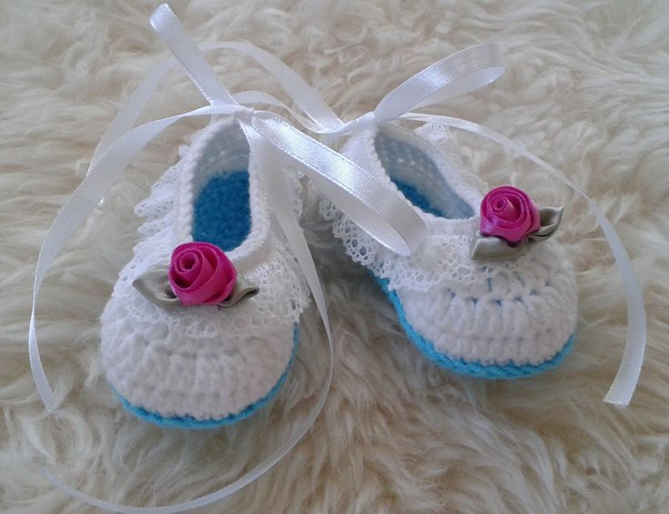 Newborn Baby Girl Ballerina Shoes in White and Turquoise decorated with White lace, Ribbon Flowers and White Ribbon Ties, Baby Shower Gift by fromKikawithLove on Etsy
