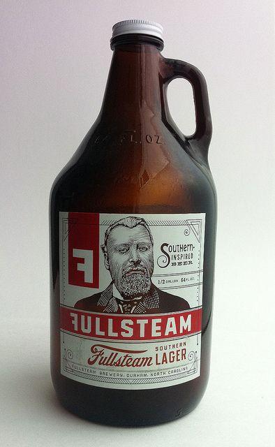 Fullsteam Southern Lager 64 oz. Growler, via Flickr.Drinks Design, Lager 64, Fullsteam Southern, Beer Bottle, Southern Lager, Fullsteam Packaging, Packaging Lager, Design Packaging, Bottle Design