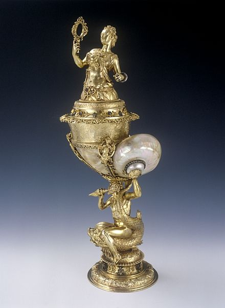 Decorative Goblet representing Prudentia, Nuremberg goldsmith, around 1603-1609. Museum of Applied Arts, Budapest, collection number E 60.15.1-2.