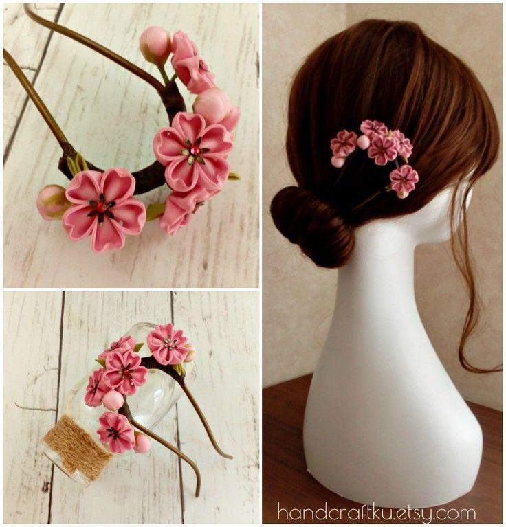 #hairstick #hairfork #hairpiece #flowerhairstick #cherryblossom #white #bridal #kimono #yukata #hairaccessories #tsumamikanzashi