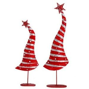 RAZ Whimsical Red and Silver Tabletop Christmas Tree - Polyvore