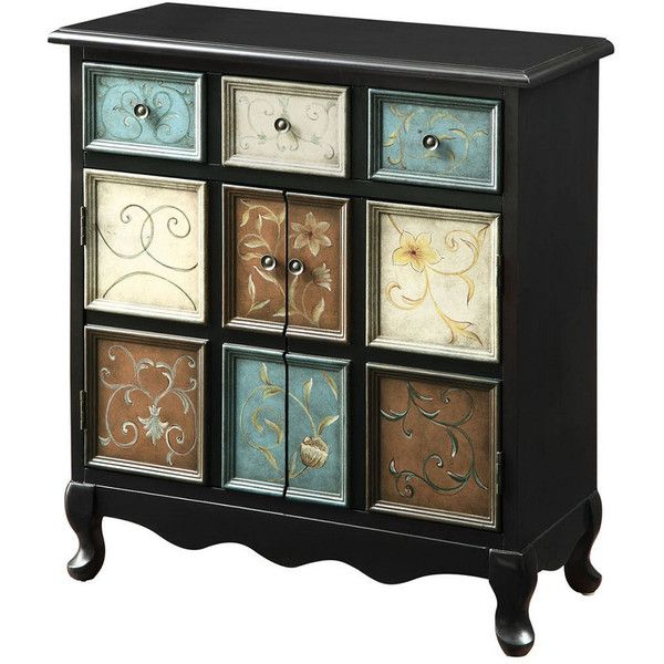 Accent Chest (420 AUD) ❤ liked on Polyvore featuring home, furniture, storage & shelves, dressers, nocolor, nine drawer dresser, colored dressers, black distressed dresser, black distressed furniture and 9 drawer dresser