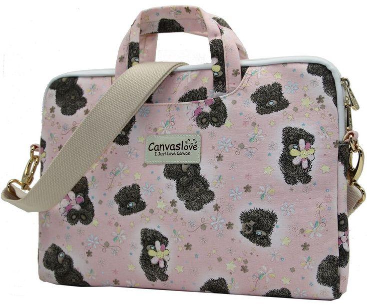 """Canvas Laptop Shoulder Messenger Bag Case For 11""""-13.3"""" Inches Laptop Pink Bear #Canvaslove"""