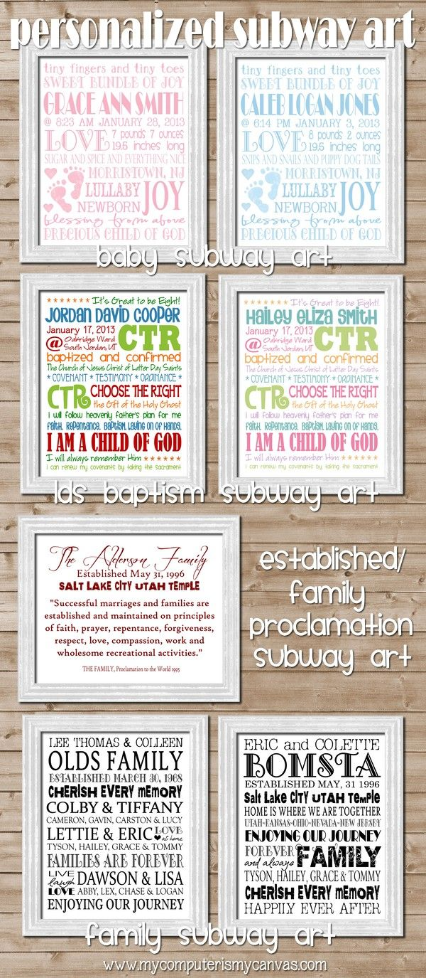 Free generic subway art for baby showers, baptism gifts, and family!  Personalized can be bought in her Etsy shop