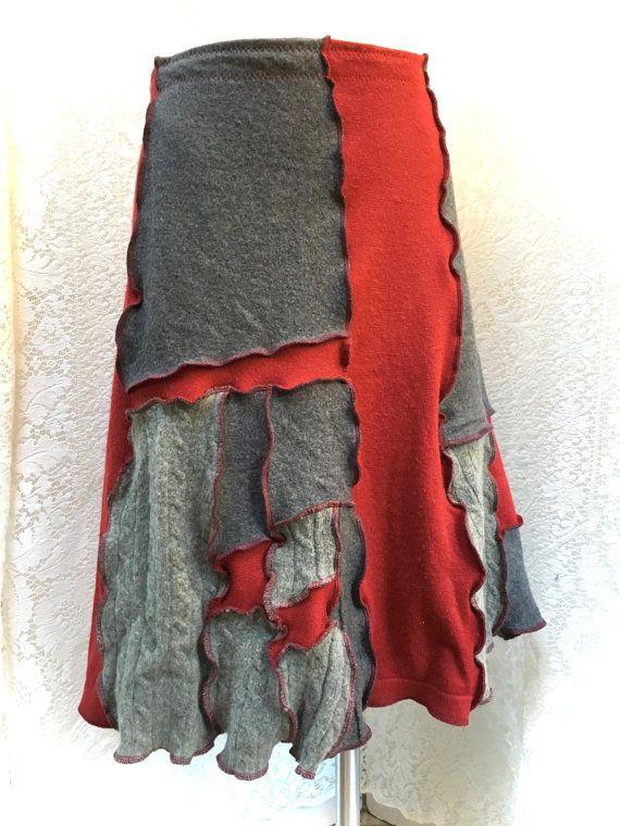 Rock aus Wolle Patchwork, Altstoff-Kleidung, recycelten Pullover, Frauen große XL, grau und rot, #SK378