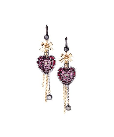 Another great find on #zulily! Goldtone & Red Crystal Web Heart Drop Earrings #zulilyfinds