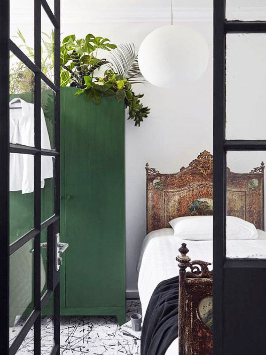 Ideas from www.thedormyhouse.com Painting a wardrobe in green is the perfect way to bring spring to a monotone bedroom. Don't forget, our furniture can come ready-to-paint. #pantone #greenery #rooms #spring