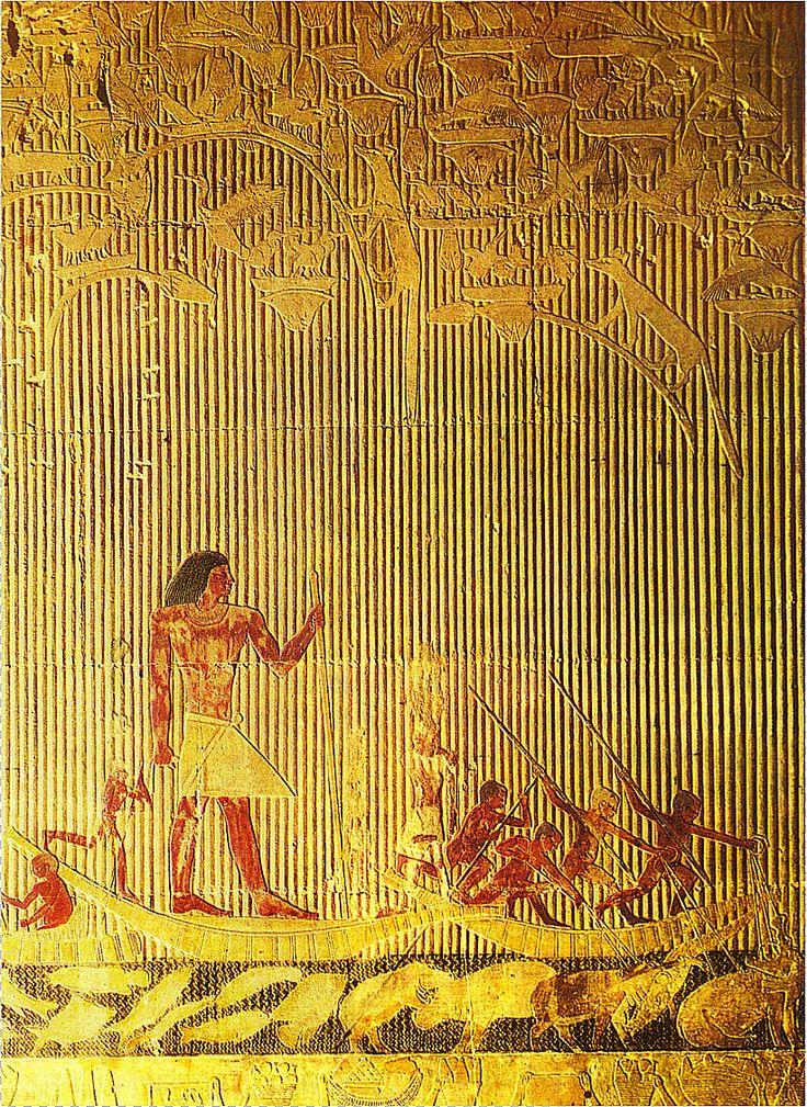 Ti als toeschouwer bij de nijlpaardenjacht ~ ca. 2400 vC. ~ Beschilderd kalksteenreliëf ~ De tombe van Ti in Sakkara