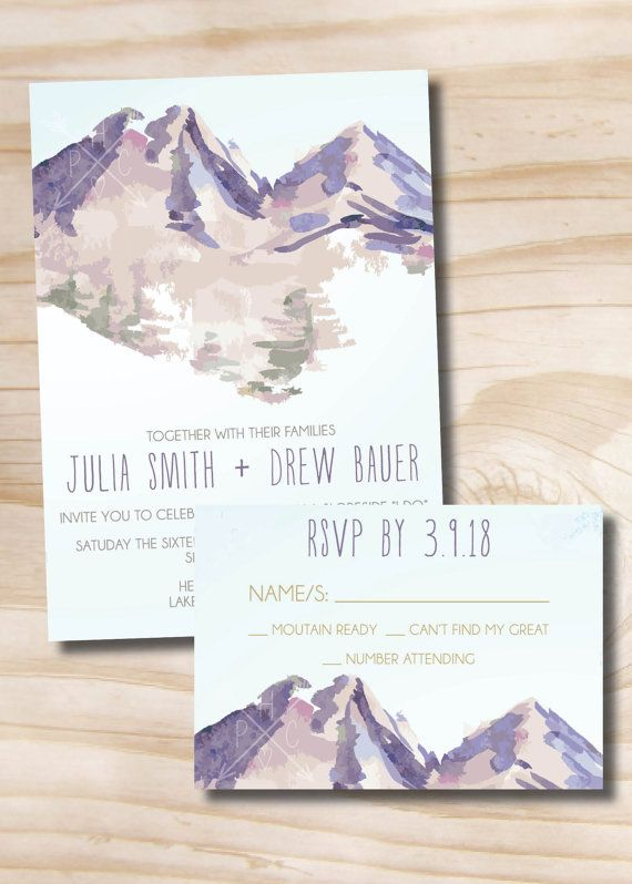 Watercolor Mountain Wedding Invitation Response Card - Design only / Digital…