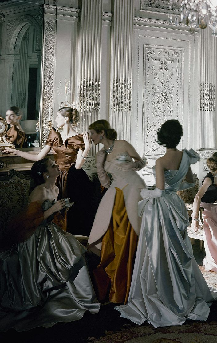 models in Charles James ball gowns, photographed in the salon of French & Co, New York ~ 1948.