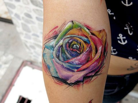 See more tattoo ideas on http://tattooswall.com/abstract-colorful-rose-tattoo-ideas-012.html Abstract Colorful Rose Tattoo Ideas 012
