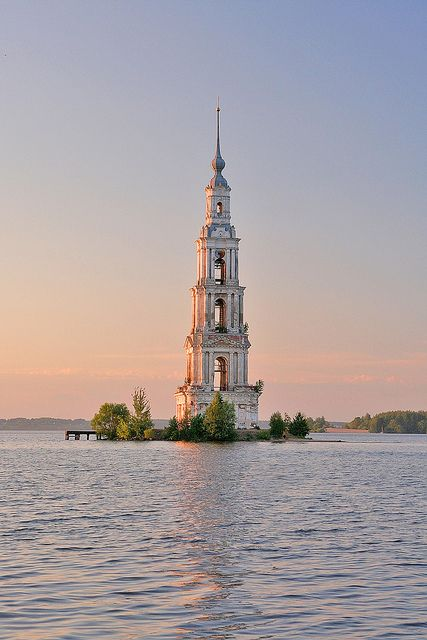 St. Nicholas belltower, part of the flooded church in Kalyazin, Russia (by peterdanilov).