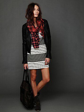 Striped shift + plaid scarf = Cali Fall Love