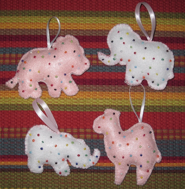 Circus Animal cookie felt ornaments - hand stitched